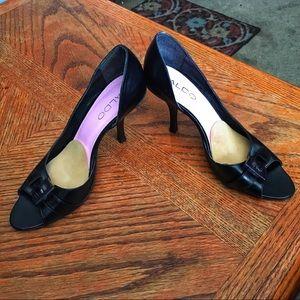 Aldo Blk Peep Toe Heels, Sz 36/US 6